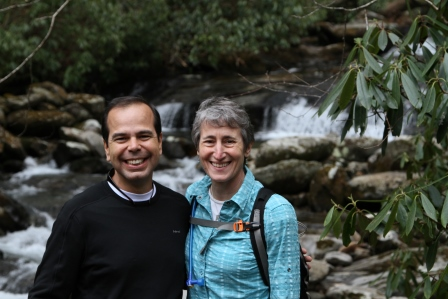 Secretary Sally Jewell and Interim Superintendent Pedro Ramos on Chimney Tops Trail