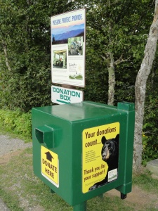Friends of the Smokies donation box at Newfound Gap